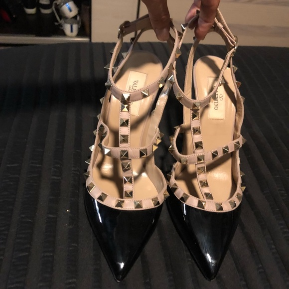 a0236199b4e Valentino Rockstud Ankle Strap Patent Pump. M 5b283db1aa571958c3b95307